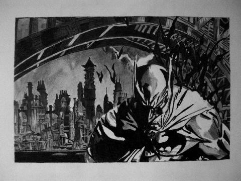 batman over gotham city