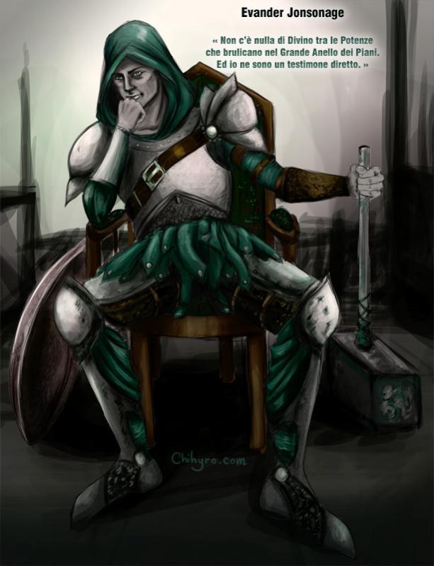 EvanderJonsonage, lo Sfidante.  Personaggio creato da s1031295 per l'ambientazione Planescape e illustrato dalla sottoscritta ^_^