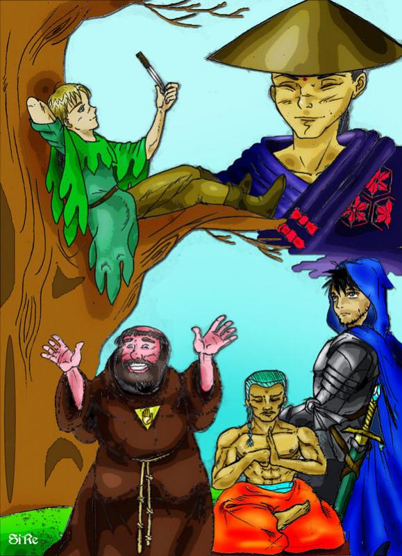 I primi personaggi RA: Kiran Akdos, Renshan, Fra' Luppolo, Rio-Kan-Li, Il paladino senza nome...