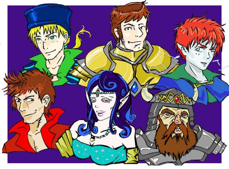 Il gruppo versione fumettosa. A partire da in alto a sinistra: Kiran Akdos, Sir Arwald, Janard, Astelider Caballero, la diva Calidora, Kursk il nano.