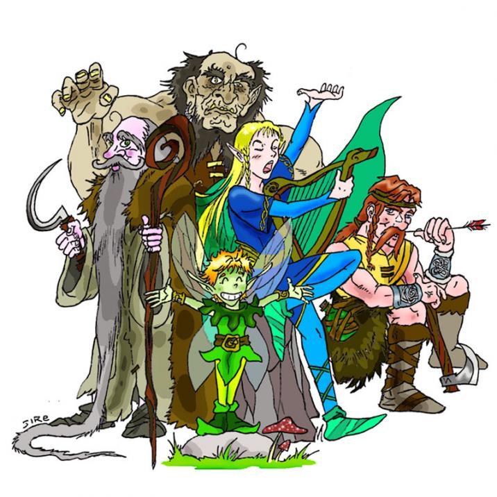 Gruppo Celtico: druido, elfo bardo, folletto, ranger, mezzogigante.