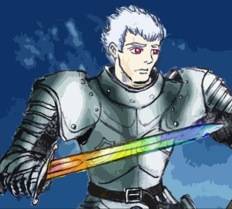 Reyott Mc Cloud, Cavaliere dell'Amore (ma si può avere un simile titolo?). La sua spada arcobaleno è più preziosa di quanto lui non sappia.