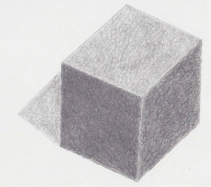 cubo ombreggiato a matita