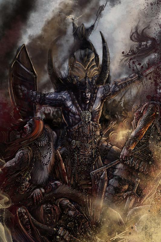 condottiero o tanl spada e scudo proveniente da age of conan