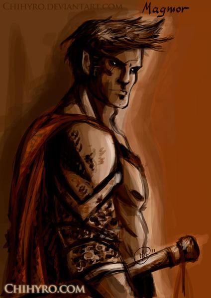 Illustrazione di un Genasi della terra barbaro.