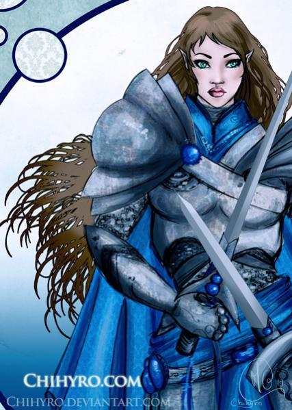 Una mezz'elfa paladina... (il blu in principio rimandava a Tyr)