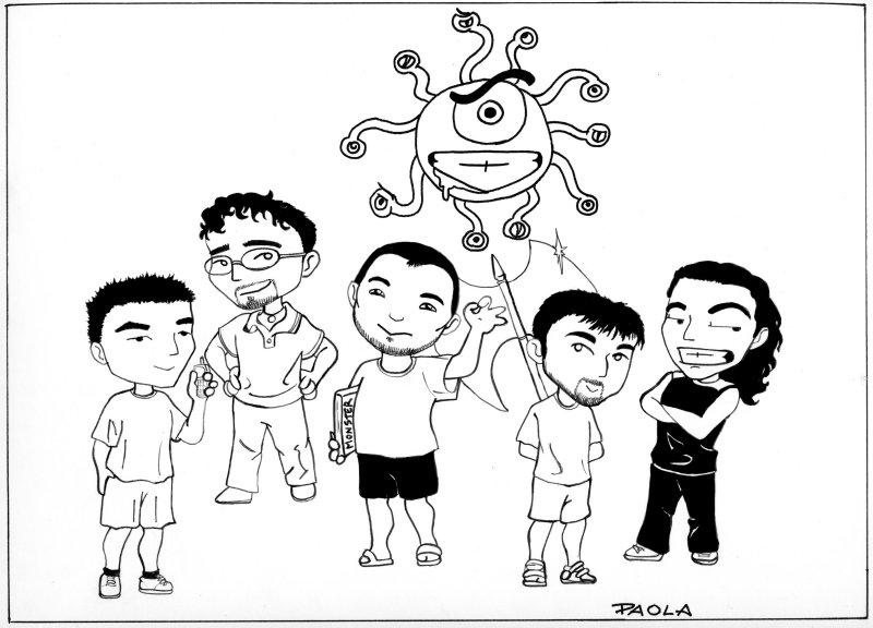La caricatura che la dolce smorfiosetta nota come Imizael ha fatto allo zoccolo duro del gruppo....