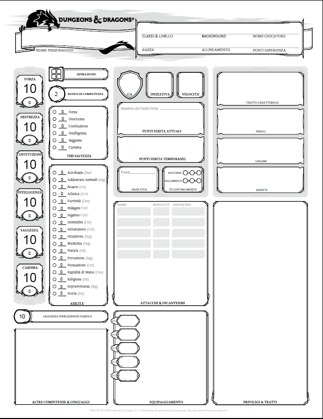 Scheda del personaggio in pdf editabile