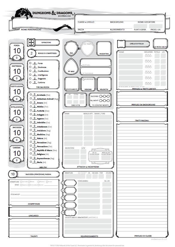 Scheda del personaggio in pdf editabile con più dettagli