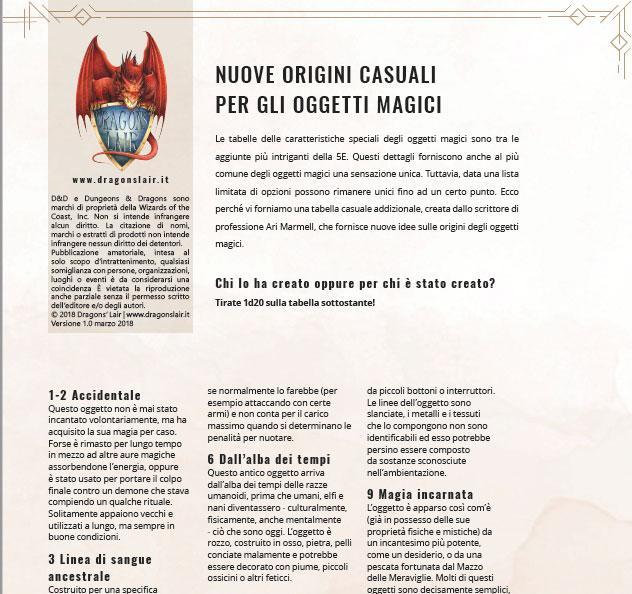 Nuove Origini Casuali per gli Oggetti Magici