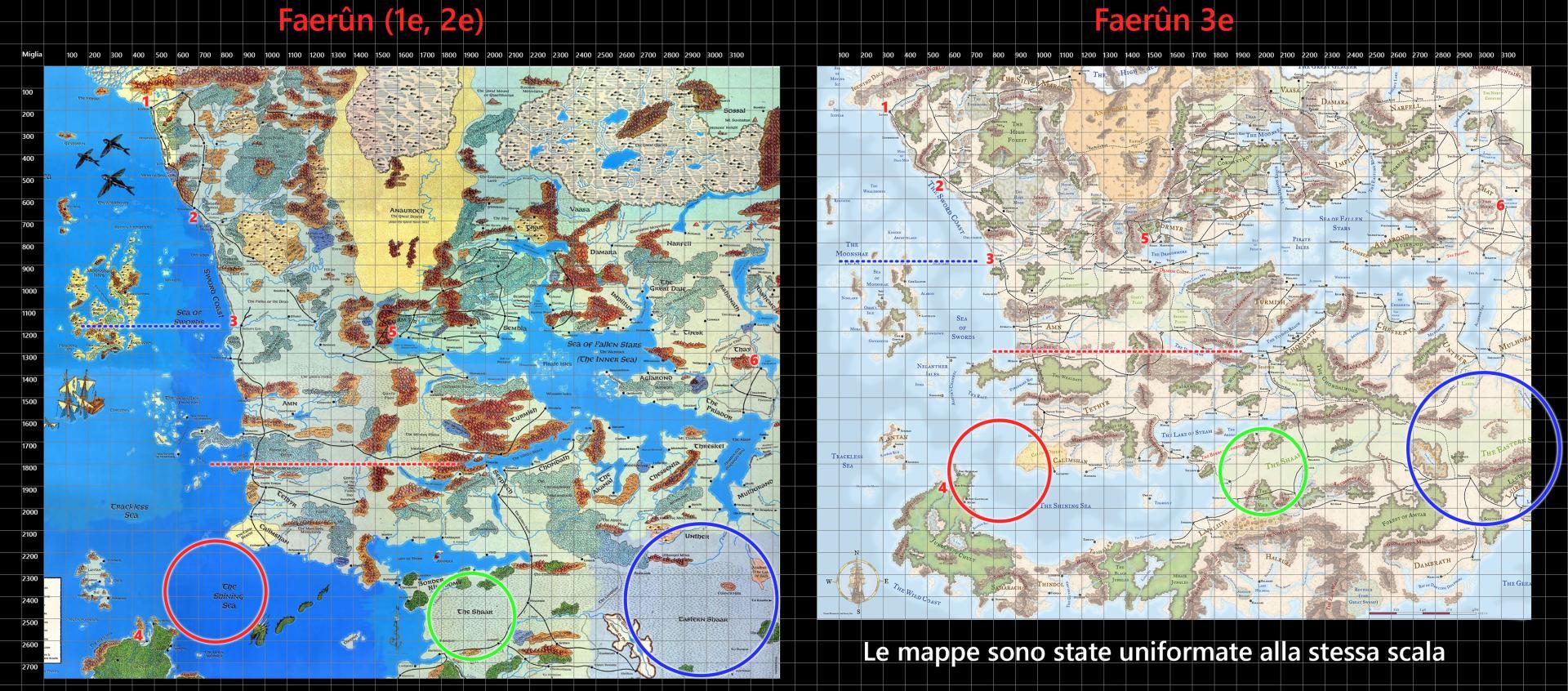 Comparativa mappe Faerûn, 1e/2e - 3e