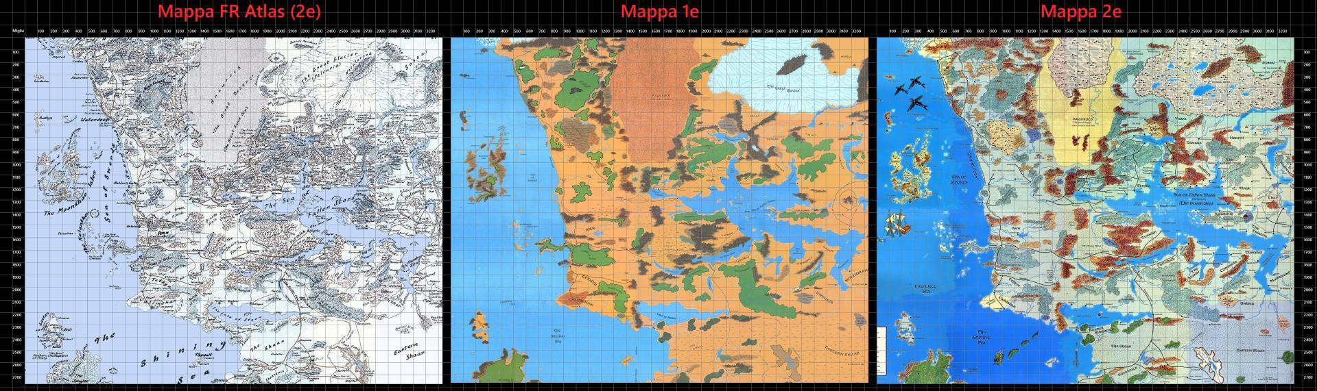 Comparativa mappe Faerûn, 1e - 2e